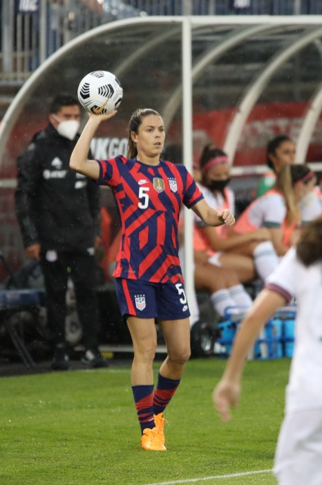 USWNT defender Kelley O'Hara (5) throws in the ball in the first of two 2021 WNT Send-Off Series games between the USWNT and Mexico at Rentschler Field in East Hartford, CT on July 1, 2021.