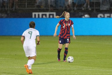 USWNT defender Becky Sauerbrunn (4) scans the field in the first of two 2021 WNT Send-Off Series games between the USWNT and Mexico at Rentschler Field in East Hartford, CT on July 1, 2021.