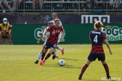 USWNT midfielder Megan Rapinoe (15) controls the ball in the second of two 2021 WNT Send-Off Series games between the USWNT and Mexico at Rentschler Field in East Hartford, CT on July 5, 2021.