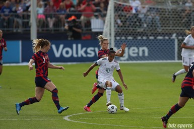 Team Mexico forward Stephany Mayor (10) controls the ball in the second of two 2021 WNT Send-Off Series games between the USWNT and Mexico at Rentschler Field in East Hartford, CT on July 5, 2021.