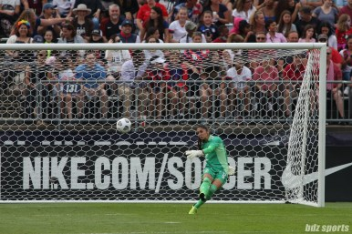Team Mexico goalkeeper Itzel Gonzalez (12) takes a goal kick in the second of two 2021 WNT Send-Off Series games between the USWNT and Mexico at Rentschler Field in East Hartford, CT on July 5, 2021.