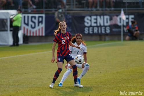 USWNT defender Tierna Davidson (12) and Team Mexico midfielder Daniela Espinosa (7) looks on as the ball is played back in the second of two 2021 WNT Send-Off Series games between the USWNT and Mexico at Rentschler Field in East Hartford, CT on July 5, 2021.