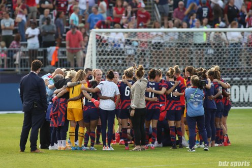 Team USA huddles after their 4-0 victory in the second of two 2021 WNT Send-Off Series games between the USWNT and Mexico at Rentschler Field in East Hartford, CT on July 5, 2021.