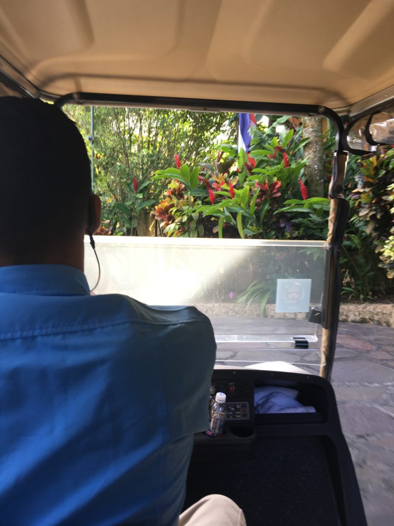 The super swish Nayara Resort Golf buggy to Casita 5