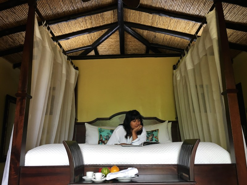 The super swish Nayara Resort Bejal on bed
