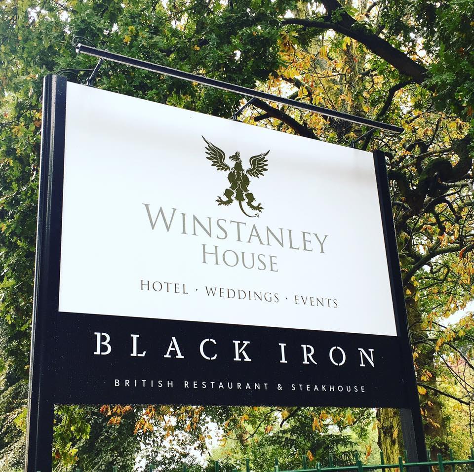 Fine fare at The Black Iron Resturant, Winstanley House Black Iron Resturant Sign