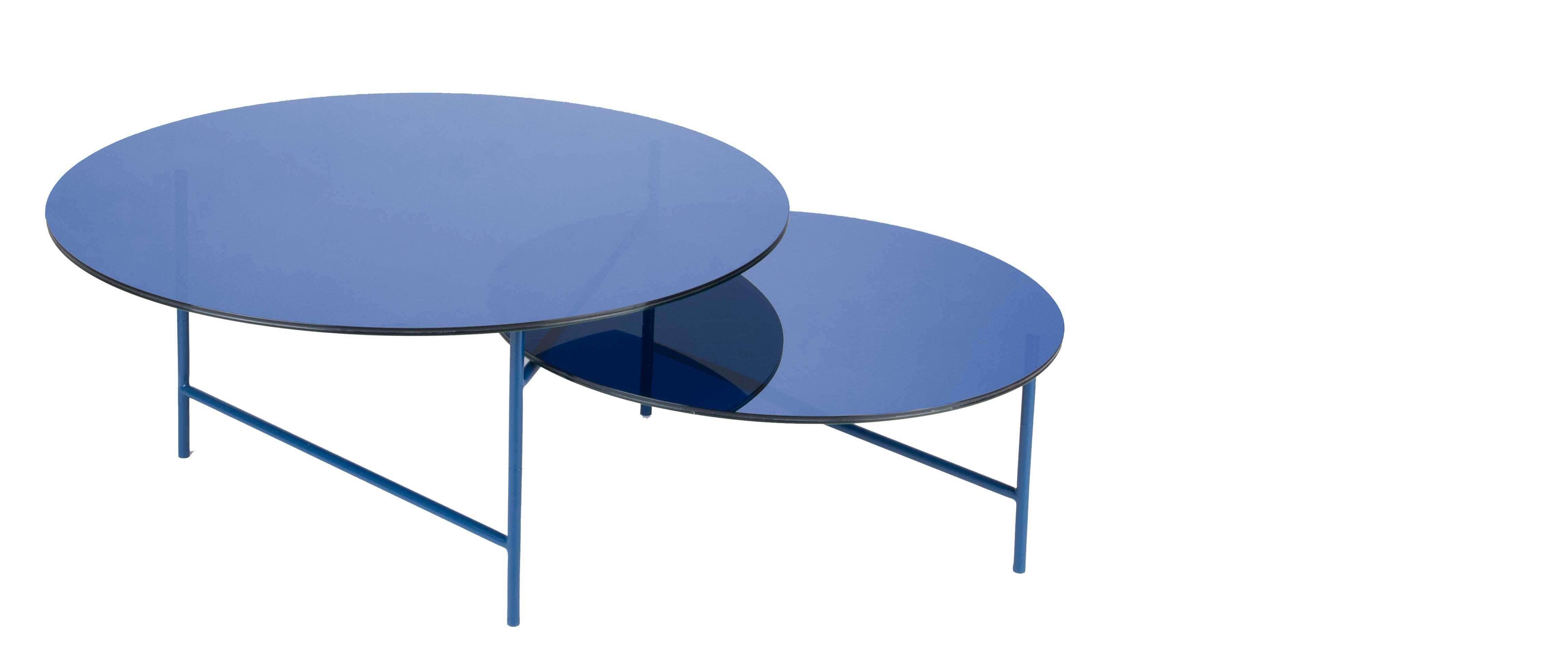 table basse avec plateaux en verre bleu zorro
