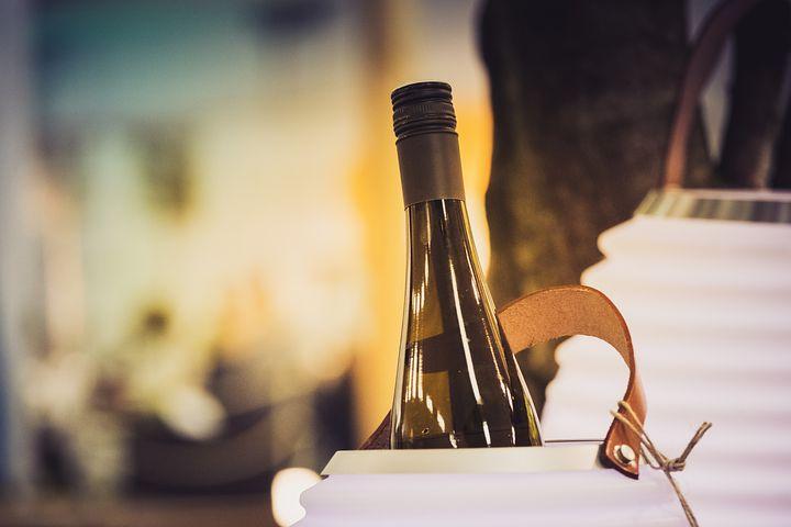 Wein, Weinflasche, Weinkühler, Sonnenuntergang, Feier