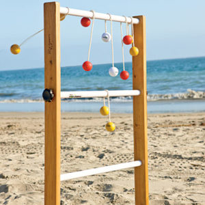 Ladder Golf Rules   Beach and Games To Go PLAYING THE GAME  Ladder Golf is played with 2 or more players or teams   Each player has 3 golf ball bolas  A bola is 2 golf balls attached by a  nylon rope