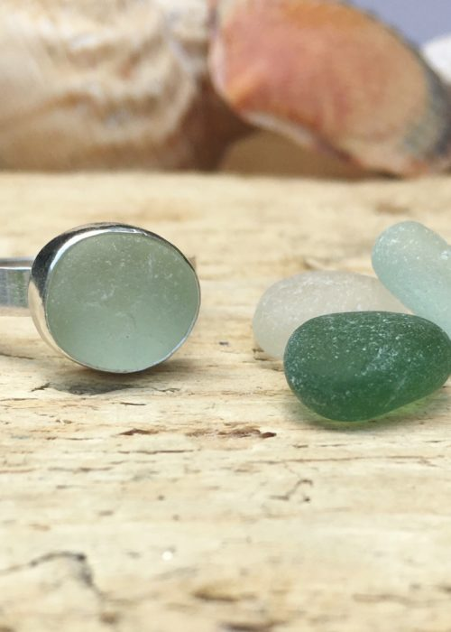 Sea glass ring on recycled silver band