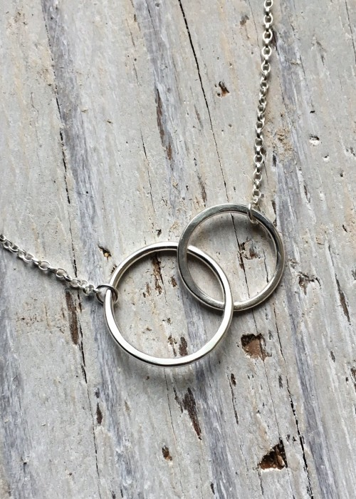 Circles linked recycled silver pendant