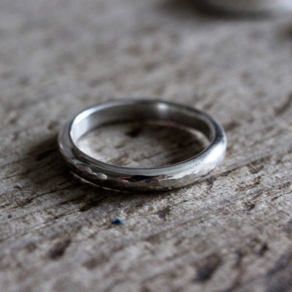 3mm d-shaped recycled silver ring