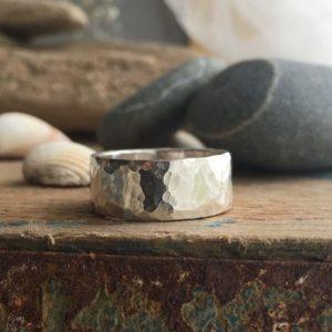 Hammered finish recycled silver band ring