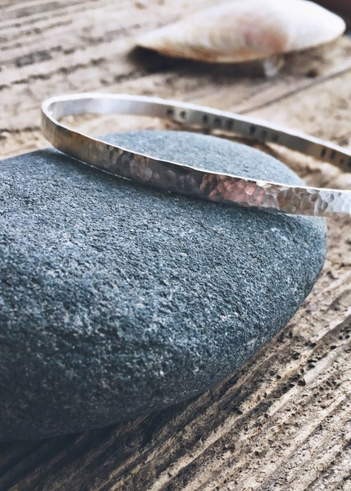 Hammered secret message bangle