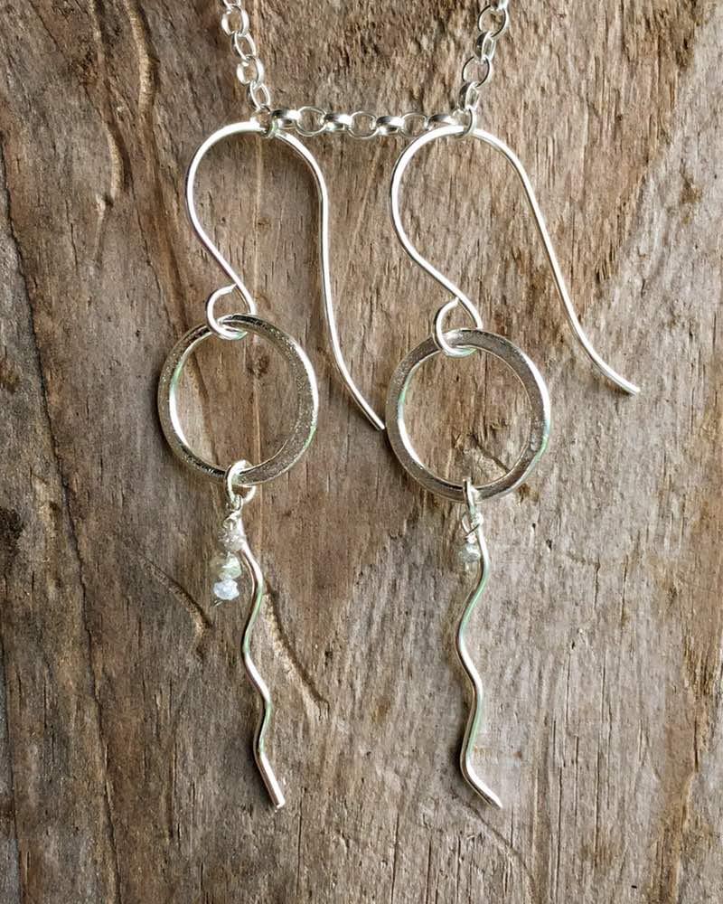 sand circles waves earrings