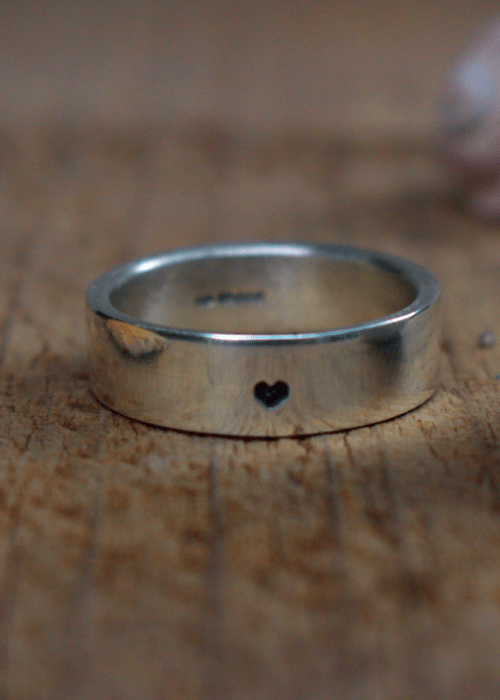 heart recycled silver band