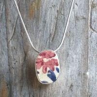 floral sea pottery pendant