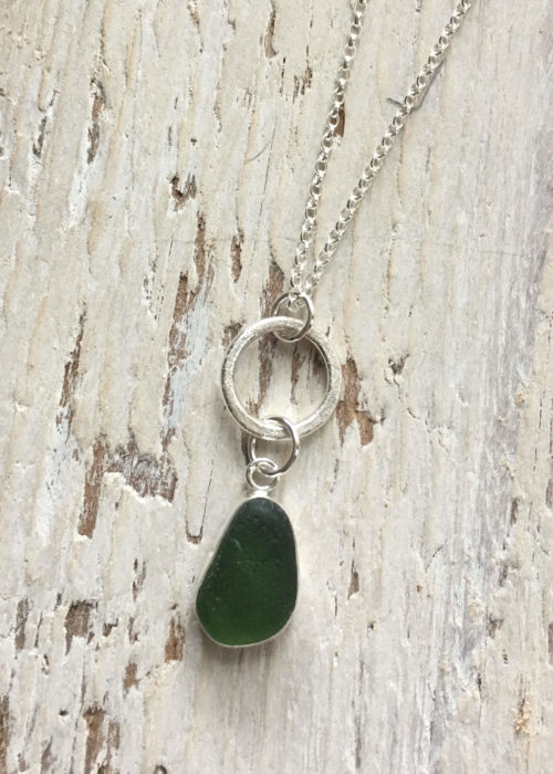 Green Sea Glass with sand circle pendant