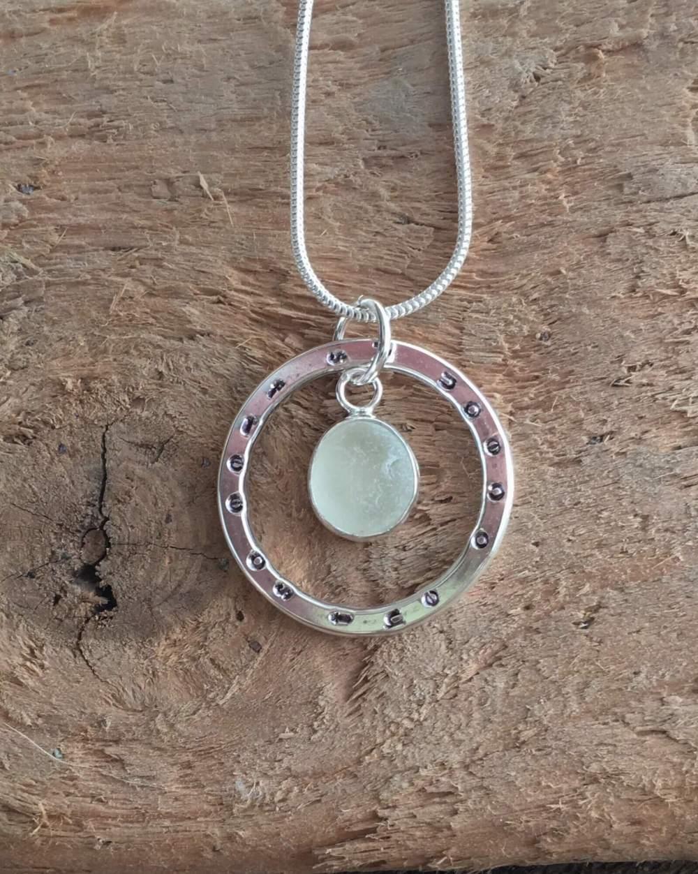 Ocean sea glass circle pendant