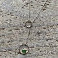 Green sea glass lariat