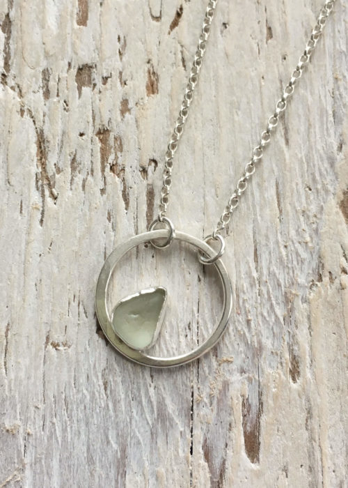 white sea glass circle choker