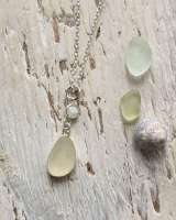 White Sea glass with opal pendant
