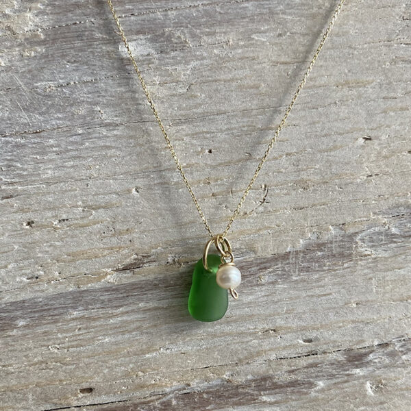 Green Sea Glass with pearl