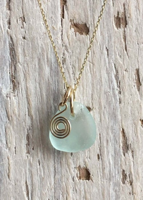 seafoam sea glass with recycled gold spiral