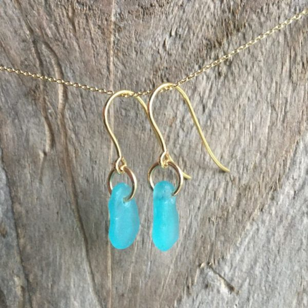 turquoise sea glass earrings