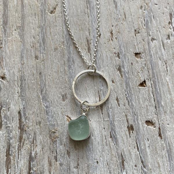 sea foam sea glass circle pendant