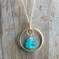 turquoise sea glass gold circle