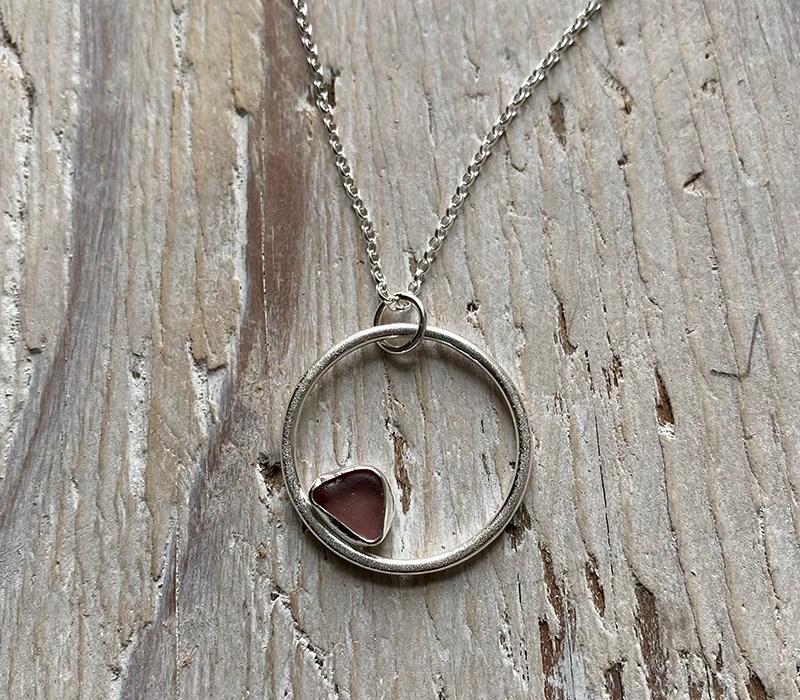 Grape sea glass circle pendant