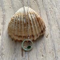 Green sea glass and golden pebbble pendant
