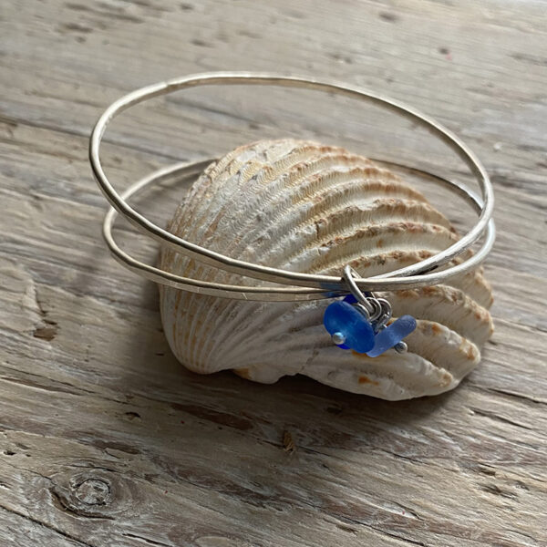 recycled silver wrap bangle with seaglass charm