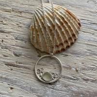 Sea glass and bubbles pendant
