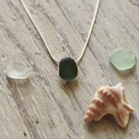 Simple green sea glass pendant