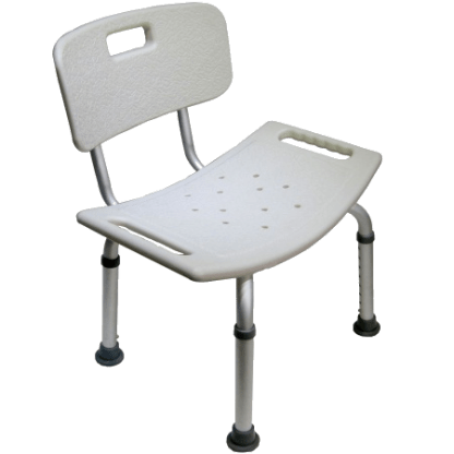 Small shower seat with back. Weight limit 250 lbs.