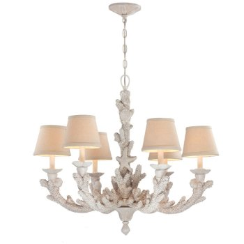 coral coastal chandelier decorated with