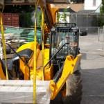 Forklift truck lifting solar panels