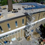 Mid way through the construction of the rooftop solar array