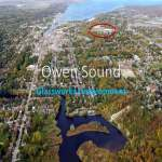 Vista of Owen Sound with The Glassworks development circled in red