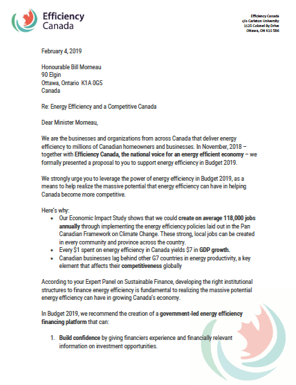 Efficiency Canada Letter - thumbnail