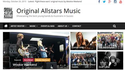 Original Allstars wordpress website by Beach Hut Studio