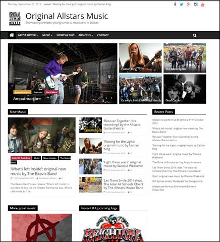 Original Allstars Music website designed by Beach Hut Studio