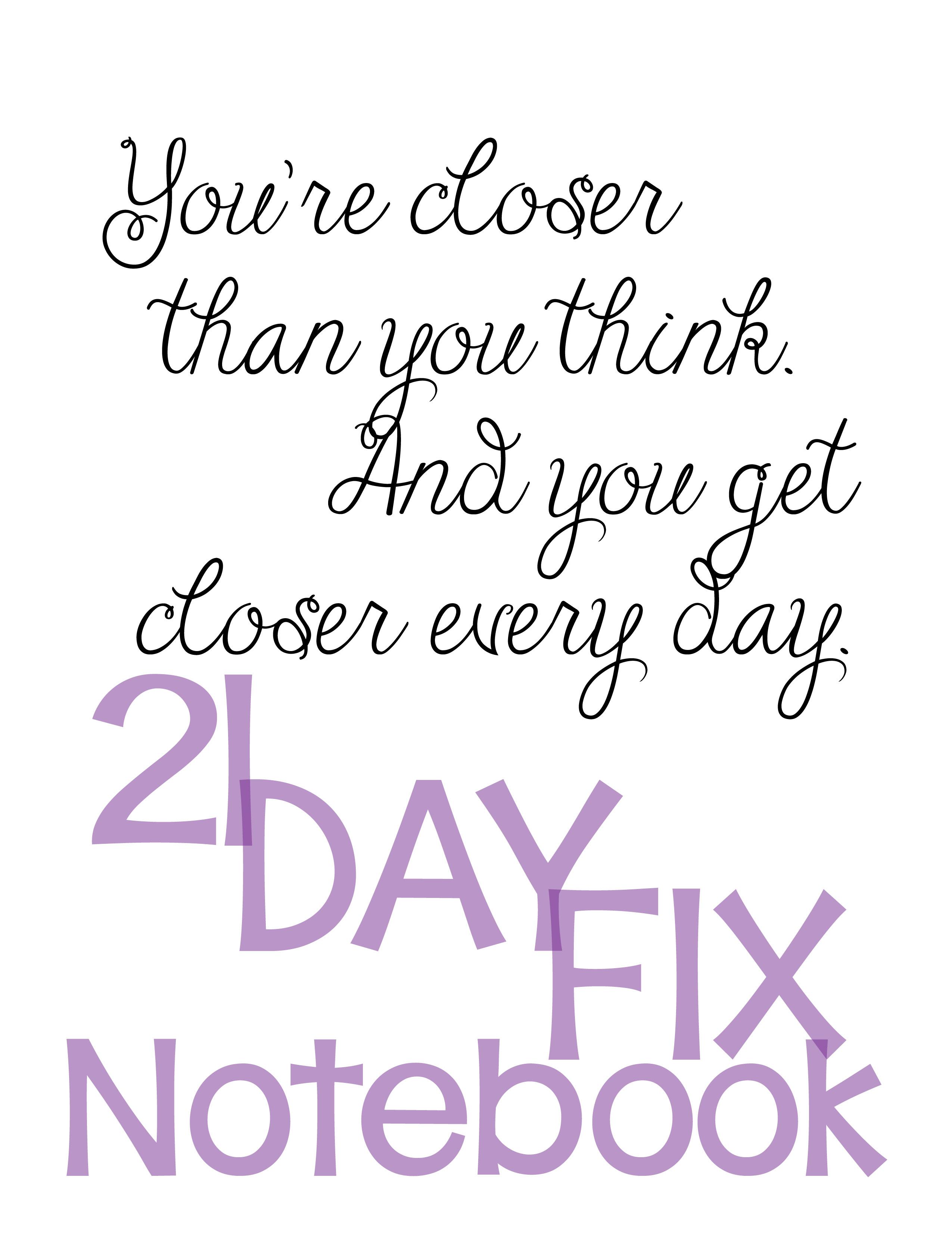 21 Day Fix Printables