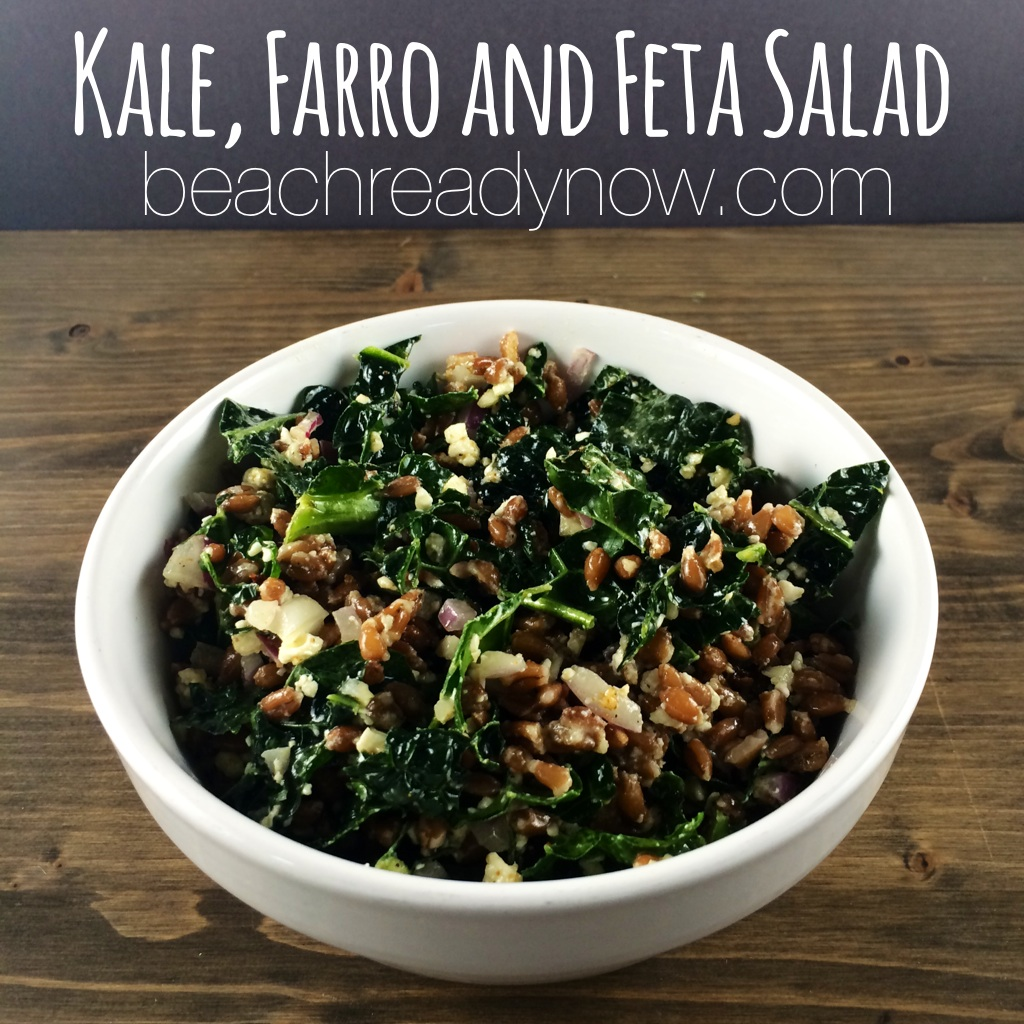 Kale, Farro and Feta Salad #cleaneating #eatclean