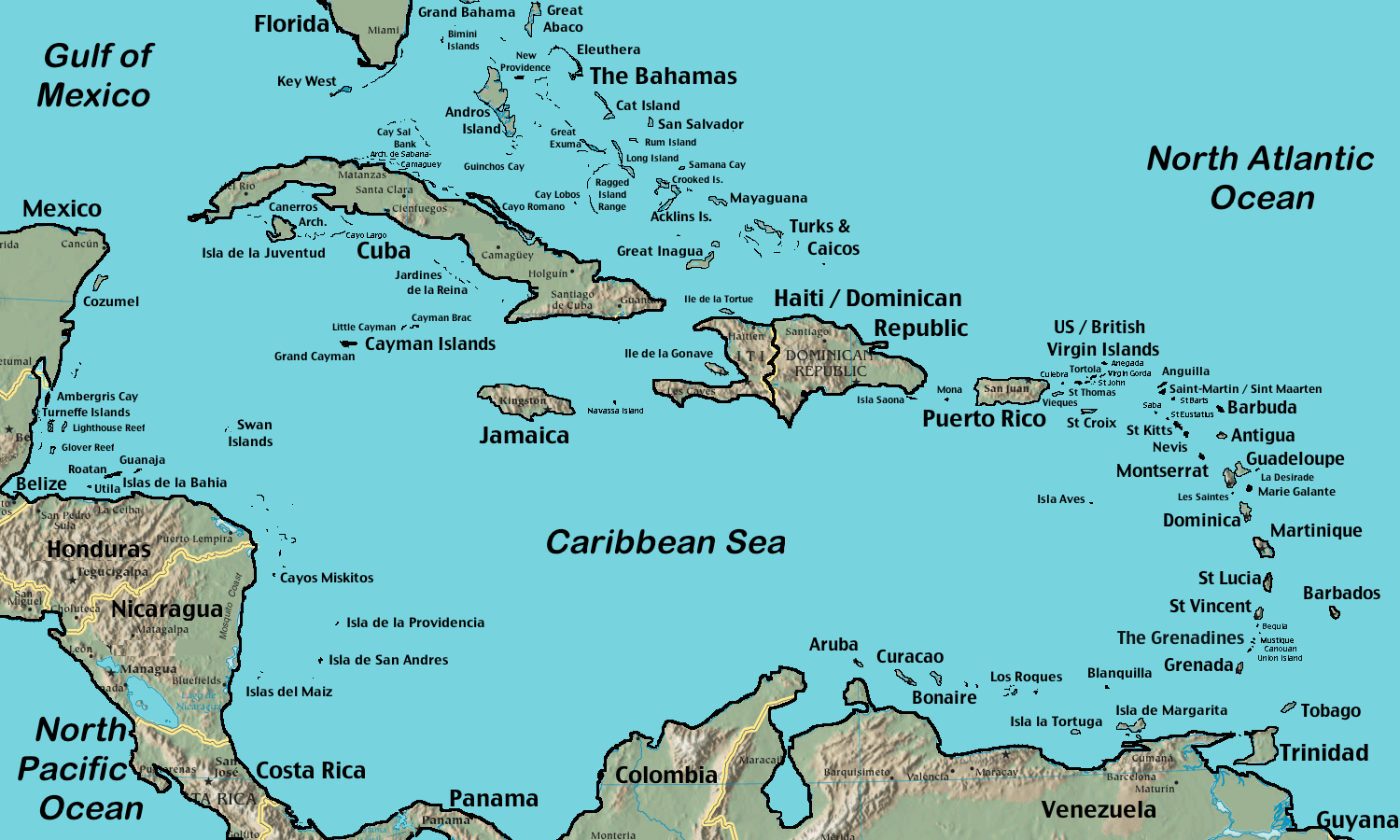 map of the caribbean and dominican republic