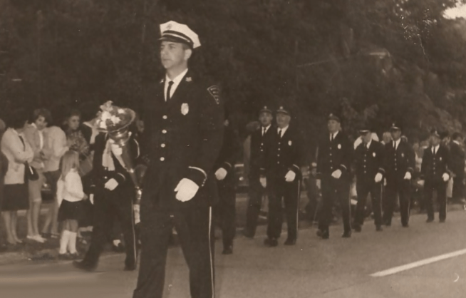 Chief Roger Brennan leads Beacon Hose in a parade during the late 1960s.