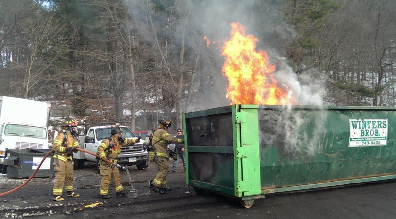 Beacon Hose Extinguishes Dumpster Fire at Station-Glo