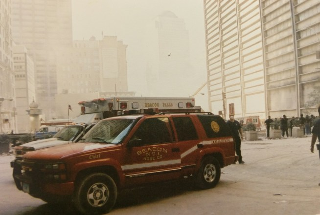 Beacon Hose's command vehicle and BH-7 are parked one block away from Ground Zero on Sept. 12, 2001. (Jeremy Rodorigo photo)